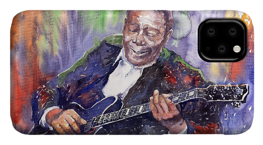 Jazz IPhone 11 Case featuring the painting Jazz B B King 06 by Yuriy Shevchuk