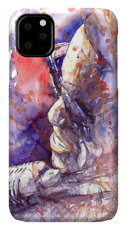 Portret IPhone 11 Case featuring the painting Jazz Ray Charles by Yuriy Shevchuk