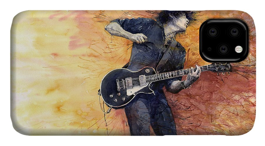 Figurativ IPhone Case featuring the painting Jazz Rock Guitarist Stone Temple Pilots by Yuriy Shevchuk