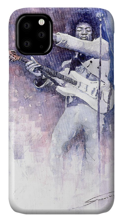Watercolor IPhone Case featuring the painting Jazz Rock Jimi Hendrix 07 by Yuriy Shevchuk