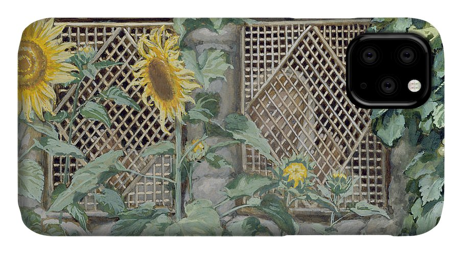 Jesus Looking Through A Lattice With Sunflowers IPhone 11 Case featuring the painting Jesus Looking Through A Lattice With Sunflowers by Tissot