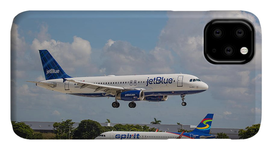 Aircraft IPhone Case featuring the photograph JetBlue over Spirit by Dart and Suze Humeston