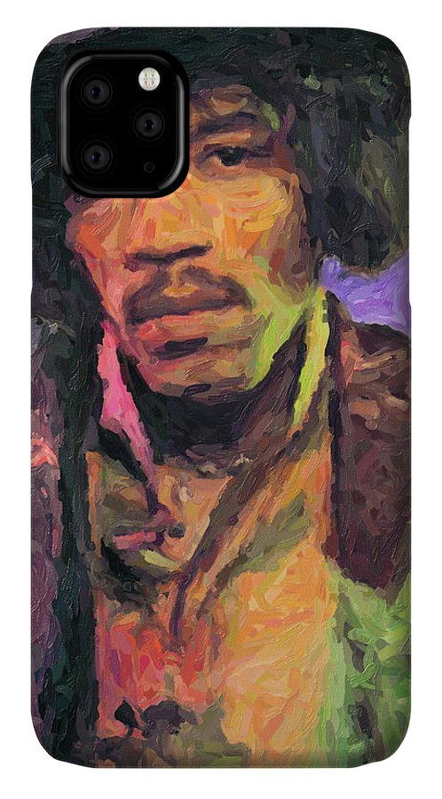 Jimi Hendrix IPhone Case featuring the painting Jimi Hendrix by Zapista OU
