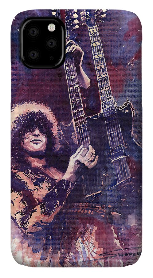 Watercolour IPhone 11 Case featuring the painting Jimmy Page by Yuriy Shevchuk