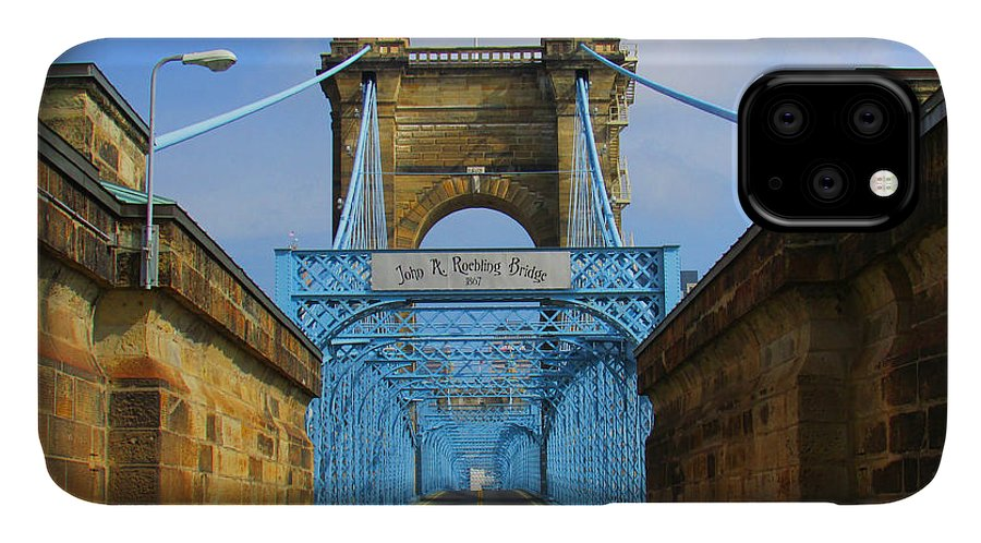 John A. Roebling IPhone Case featuring the photograph John A. Roebling Suspension Bridge by Michael Rucker