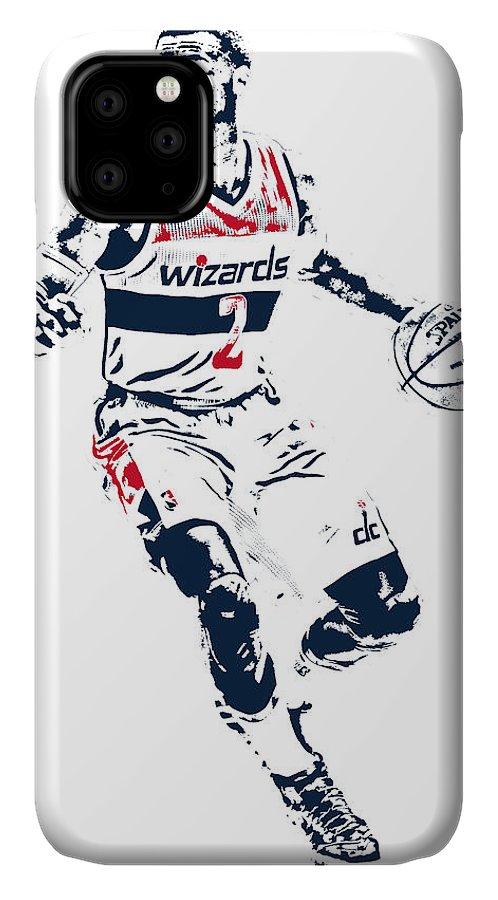 John Wall IPhone 11 Case featuring the mixed media John Wall Washington Wizards Pixel Art 1 by Joe Hamilton