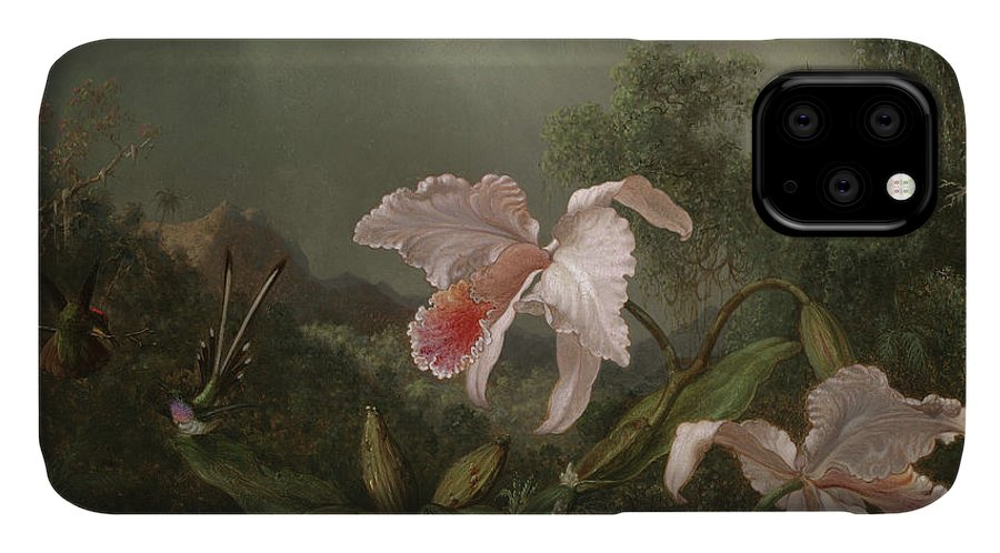 Jungle Orchids And Hummingbirds IPhone 11 Case featuring the painting Jungle Orchids And Hummingbirds, 1872 by Martin Johnson Heade