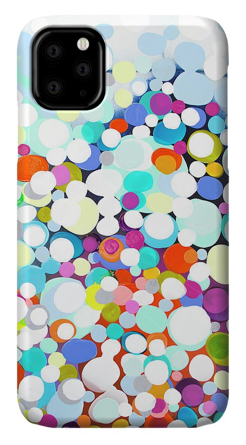 Abstract IPhone 11 Case featuring the painting Just For Fun by Claire Desjardins