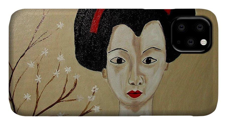 Japanese IPhone 11 Case featuring the painting Kabuki Girl by Rusty Gladdish