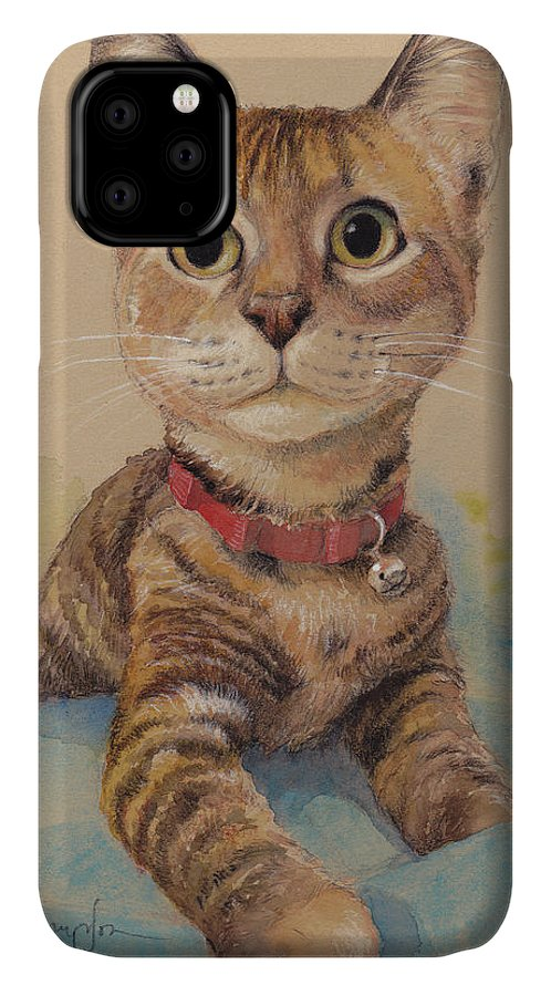 Cat IPhone Case featuring the painting Kitten on the Loose by Tracie Thompson