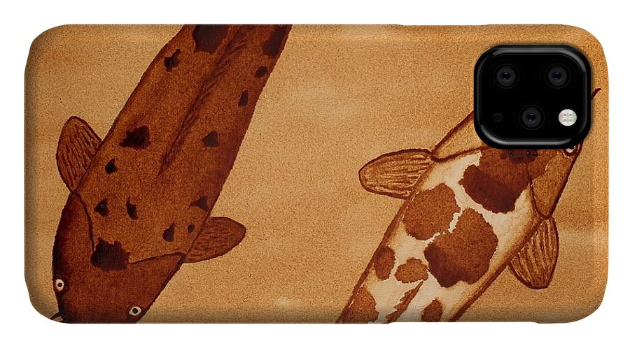 Koi Fish Abstract Coffee Painting IPhone Case featuring the painting Koi Fish Feng Shui by Georgeta Blanaru