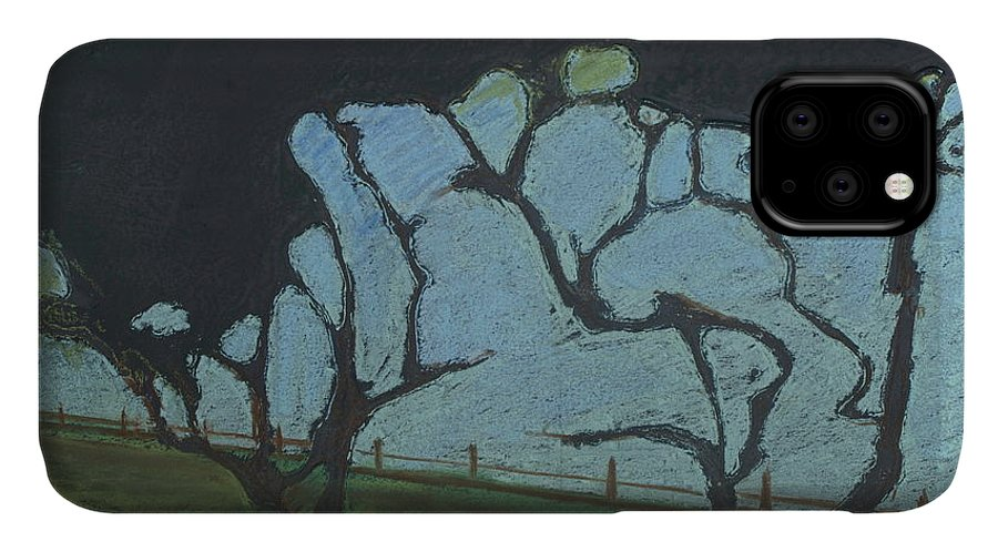 Contemporary Tree Landscape IPhone Case featuring the mixed media La Jolla III by Leah Tomaino