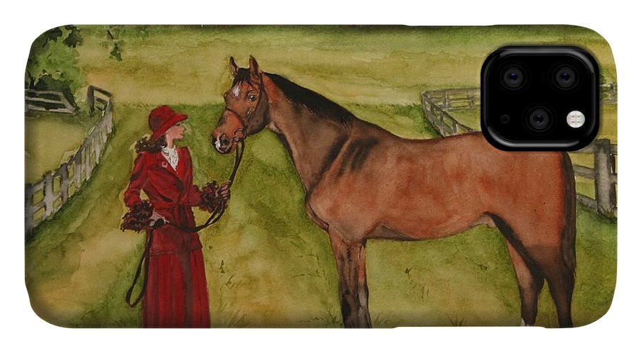 Horse IPhone Case featuring the painting Lady and Horse by Jean Blackmer