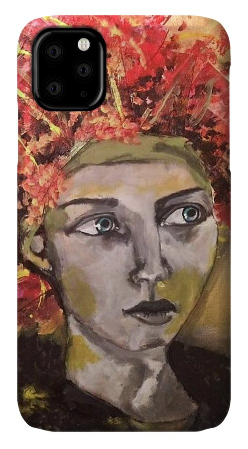 Portrait IPhone Case featuring the mixed media Lady in Red Headdress by Milagros Suriano-Rivera