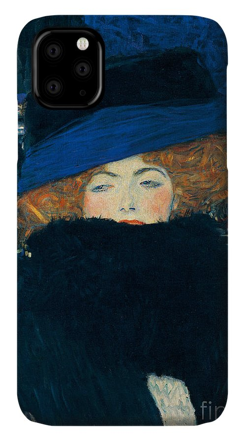 Klimt IPhone 11 Case featuring the painting Lady With A Hat And A Feather Boa by Gustav Klimt