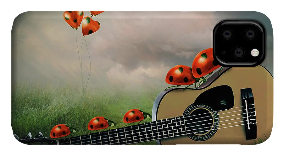 Surreal IPhone Case featuring the digital art Ladybugs With Guitar by Mihaela Pater