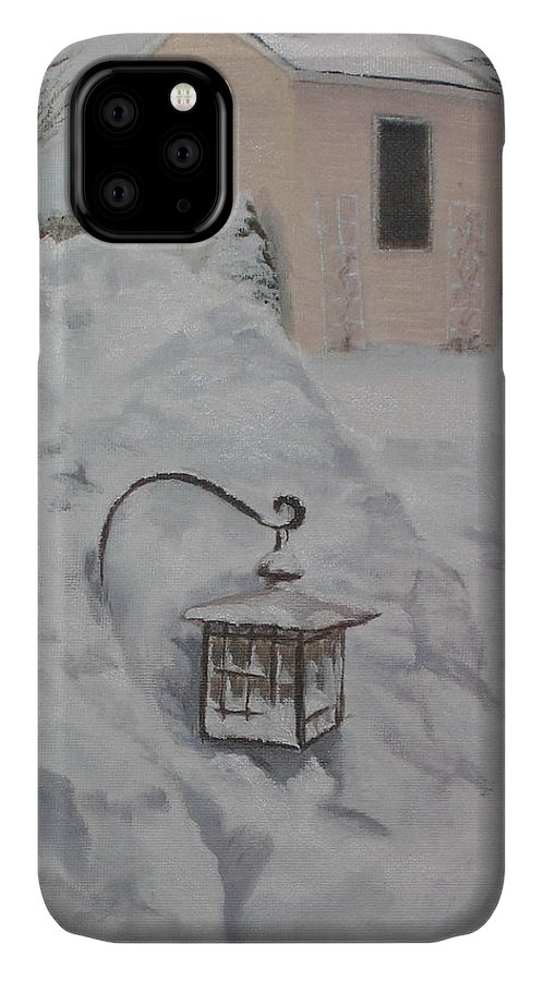Snow IPhone Case featuring the painting Lantern in the Snow by Lea Novak