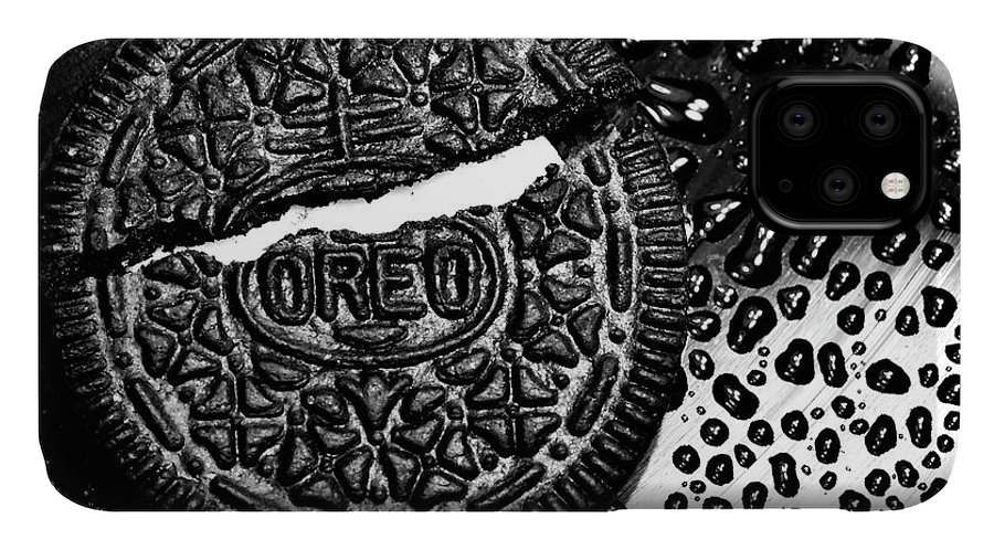 Cookie IPhone 11 Case featuring the photograph Large Oreo Black And White by Nancy Mueller