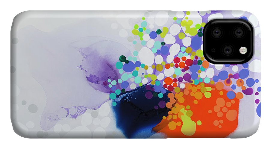 Abstract IPhone 11 Case featuring the painting Lay The Blame by Claire Desjardins