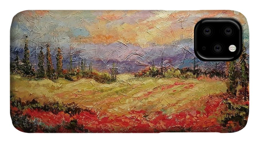 Italian Vineyards IPhone Case featuring the painting Layers of Tuscany by Ginger Concepcion