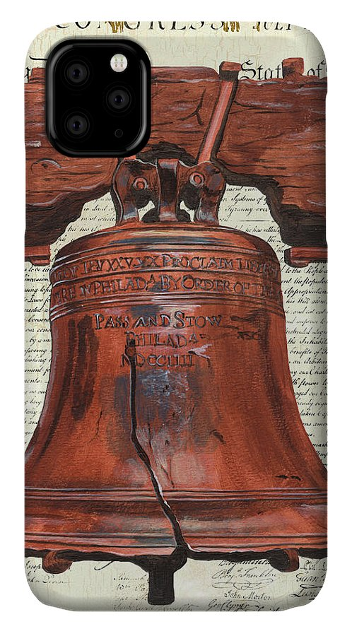 Bell IPhone 11 Case featuring the painting Life And Liberty by Debbie DeWitt