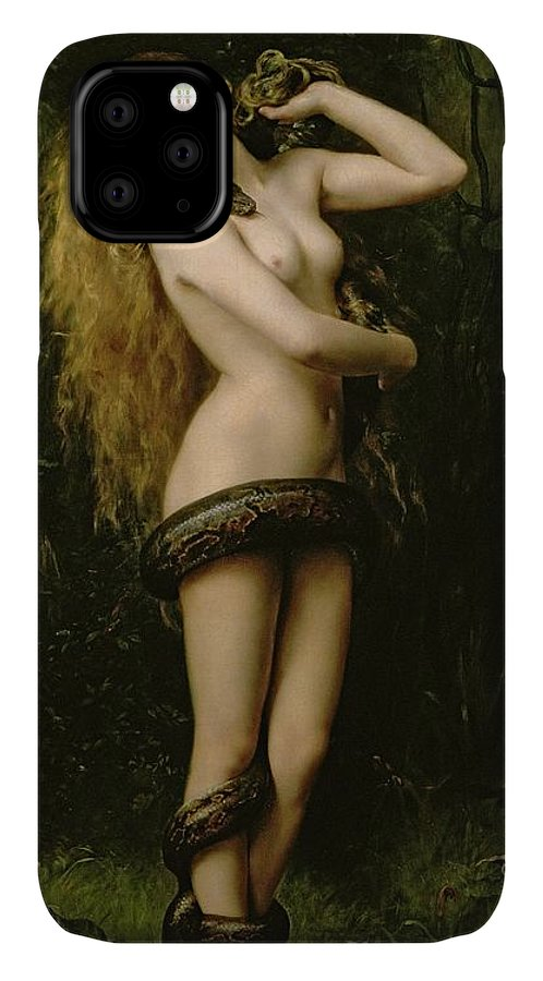 Nude; Female; Snake; Long Hair; Pre-raphaelite; Lilith IPhone Case featuring the painting Lilith by John Collier