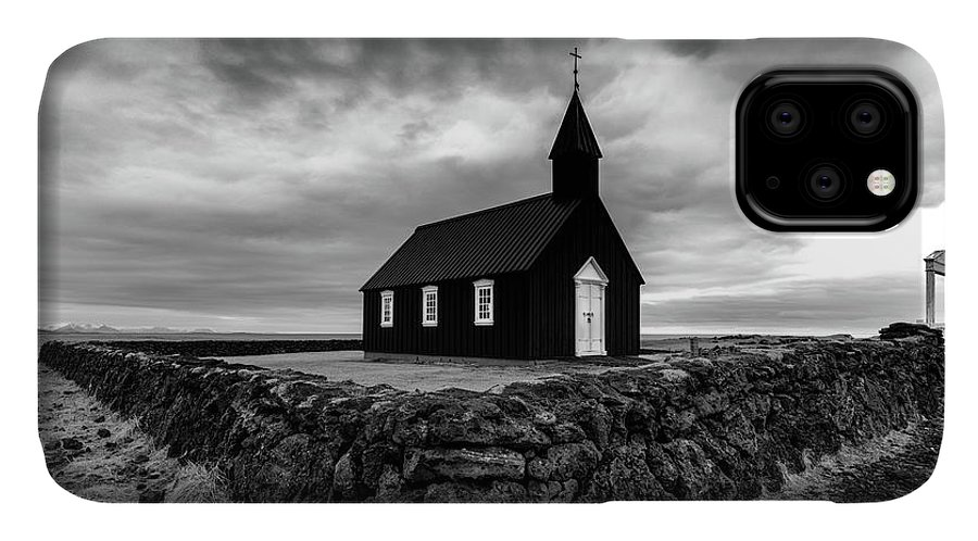 Iceland IPhone 11 Case featuring the photograph Little Black Church 2 by Larry Marshall