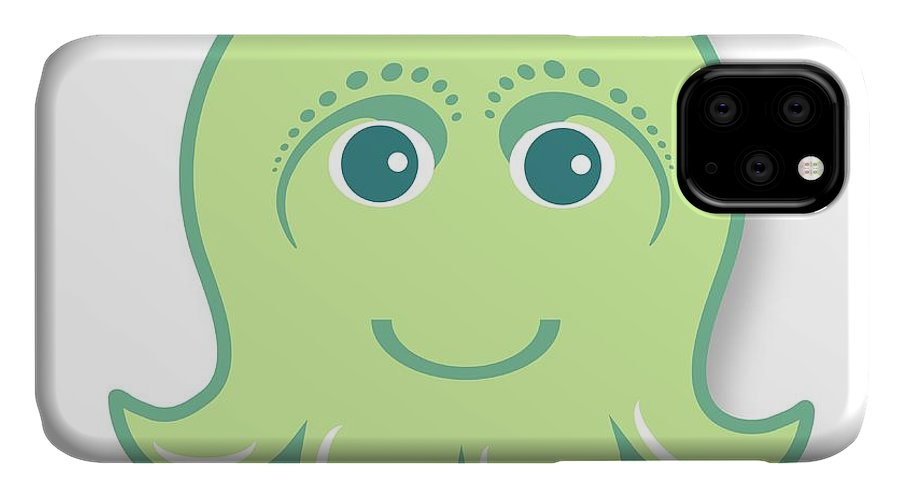 Little Octopus IPhone 11 Case featuring the digital art Little Cute Green Octopus by Ainnion