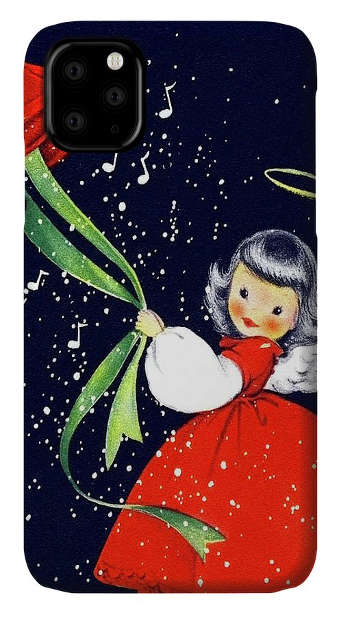 Little IPhone Case featuring the mixed media Little Fairy Announce Happy Holidays by Long Shot