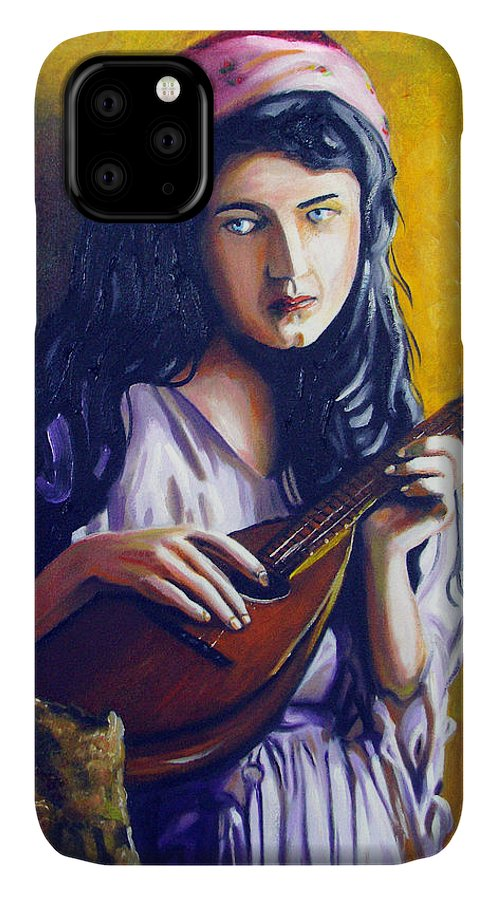 Oil IPhone Case featuring the painting Little Gypsy by Jose Manuel Abraham