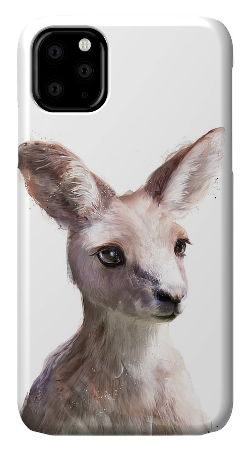 Kangaroo IPhone 11 Case featuring the painting Little Kangaroo by Amy Hamilton