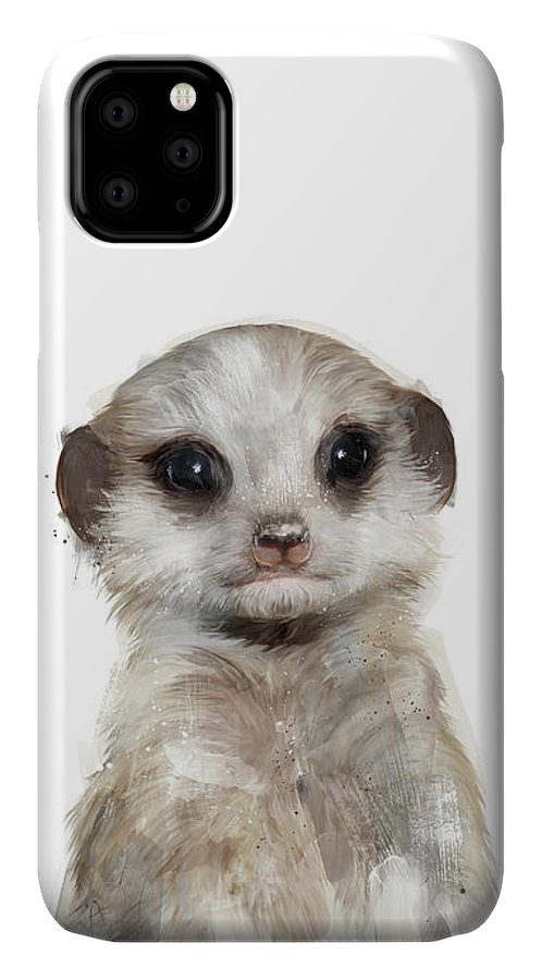 Meerkat IPhone 11 Case featuring the painting Little Meerkat by Amy Hamilton