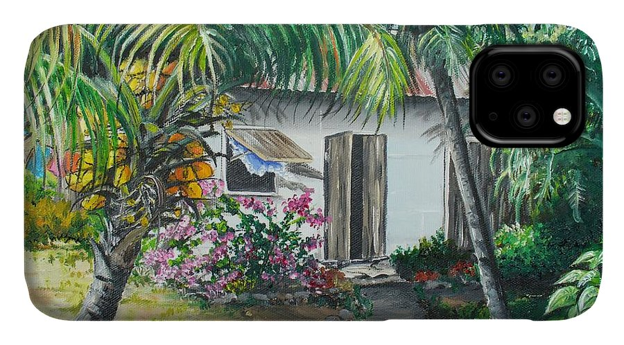 Caribbean Painting Typical Country House In Trinidad And The Islands With Coconut Tree Tropical Painting IPhone Case featuring the painting Little West Indian House 2...sold by Karin Dawn Kelshall- Best