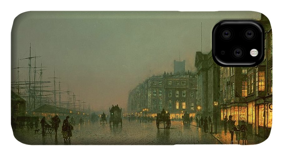 Liverpool Docks From Wapping IPhone 11 Case featuring the painting Liverpool Docks From Wapping by John Atkinson Grimshaw
