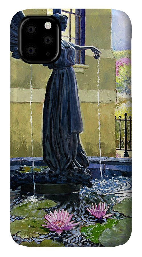 Garden Fountain IPhone Case featuring the painting Living Waters by John Lautermilch