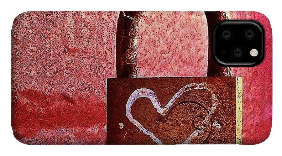 Lock IPhone Case featuring the photograph Lock/heart by Julie Gebhardt