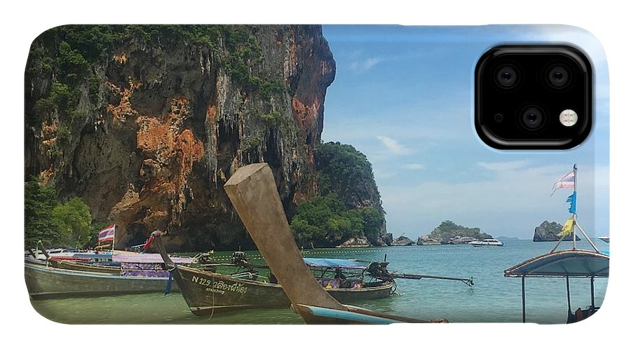 Thailand IPhone 11 Case featuring the photograph Lounging Longboats by Ell Wills