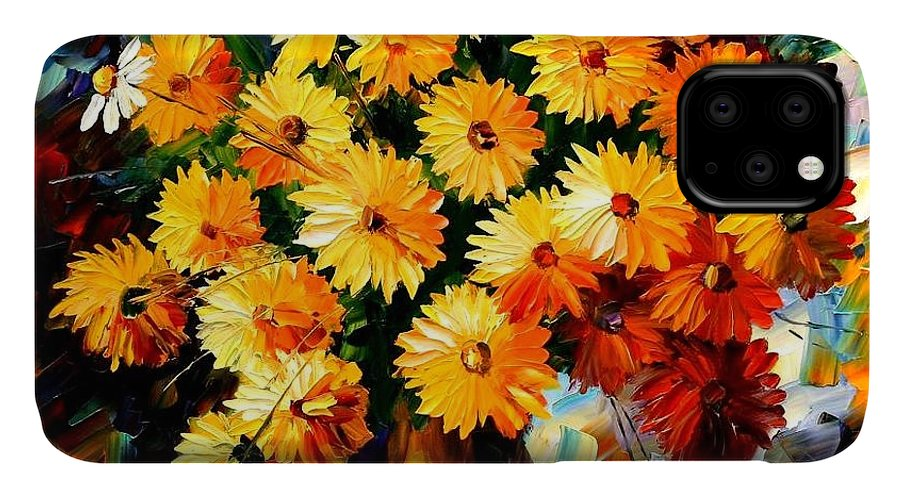 Flowers IPhone 11 Case featuring the painting Love Irradiation by Leonid Afremov