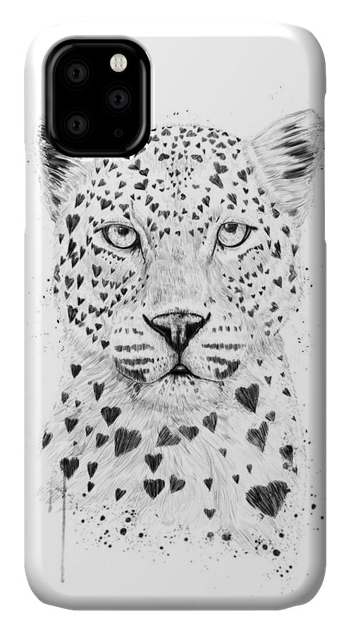 Leopard IPhone Case featuring the drawing Lovely Leopard by Balazs Solti