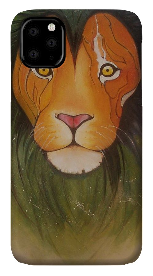 #lion #oilpainting #animal #colorful IPhone Case featuring the painting Lovelylion by Anne Sue