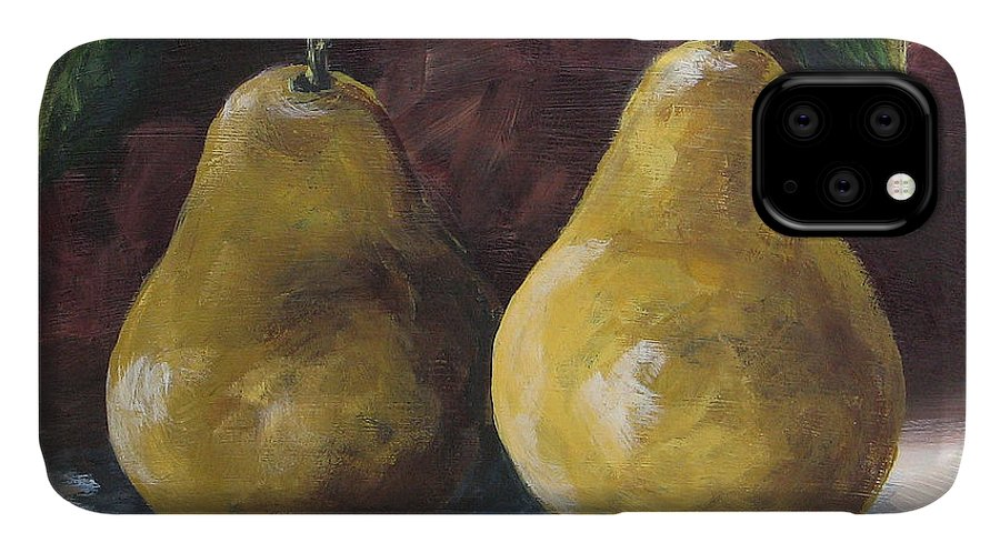 Pear IPhone Case featuring the painting Lucky Pears by Torrie Smiley
