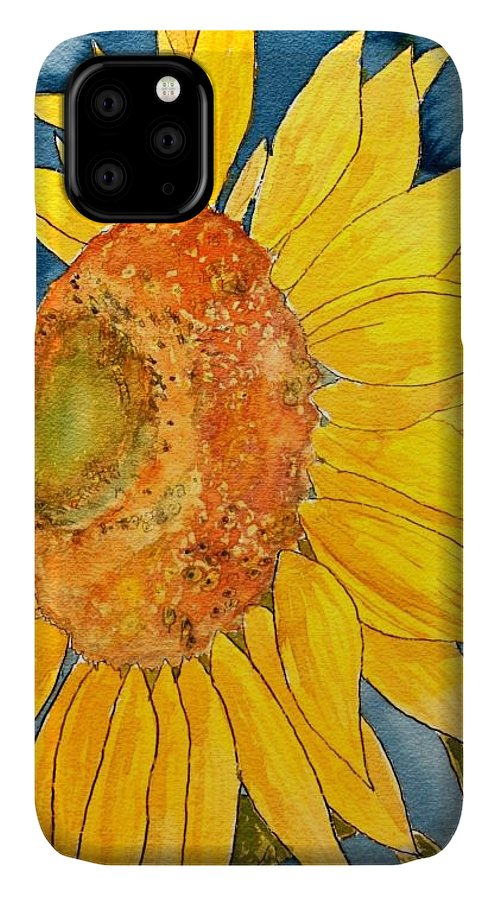 Sunflower IPhone Case featuring the painting Macro Sunflower Art by Derek Mccrea