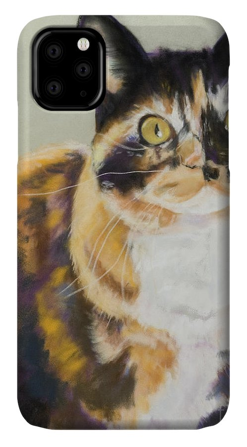 Calico IPhone Case featuring the painting Maggie Mae by Pat Saunders-White