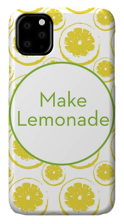 Lemons IPhone 11 Case featuring the mixed media Make Lemonade 3- Art By Linda Woods by Linda Woods