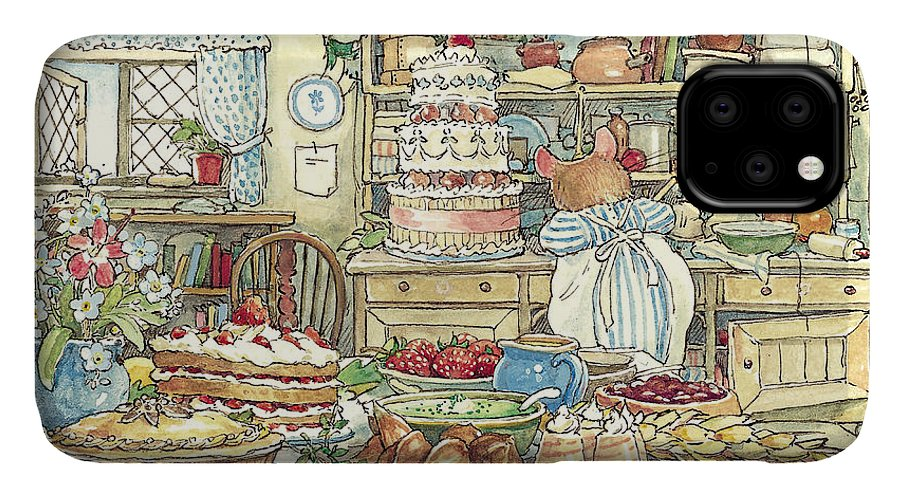 Brambly Hedge IPhone Case featuring the drawing Making The Wedding Cake by Brambly Hedge