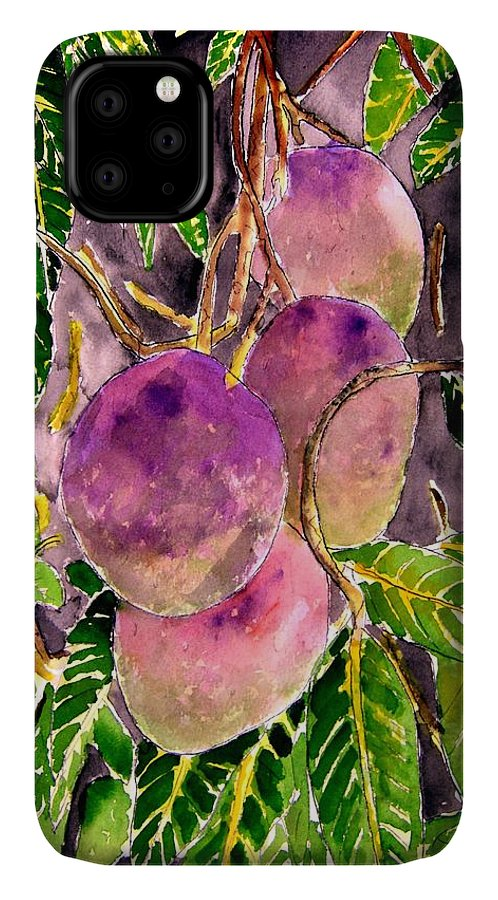Mango IPhone Case featuring the painting Mango tree fruit by Derek Mccrea