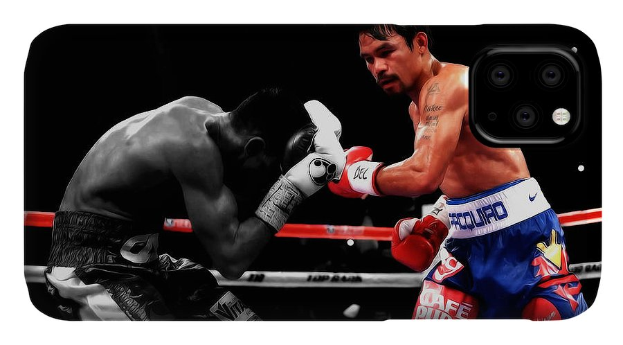 Manny Pacquiao IPhone Case featuring the mixed media Manny Pacquiao And Chris Algieri by Brian Reaves