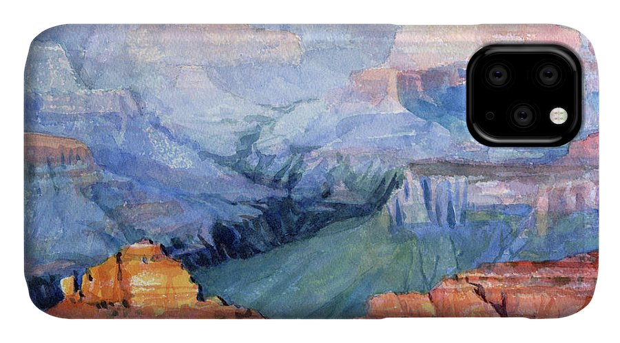 Grand Canyon IPhone 11 Case featuring the painting Many Hues by Steve Henderson
