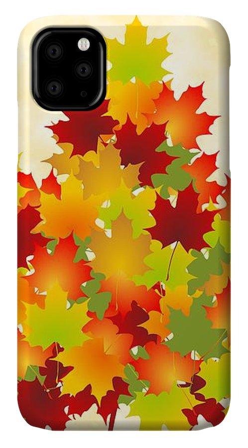 Maple IPhone 11 Case featuring the digital art Maple Leaves by Anastasiya Malakhova