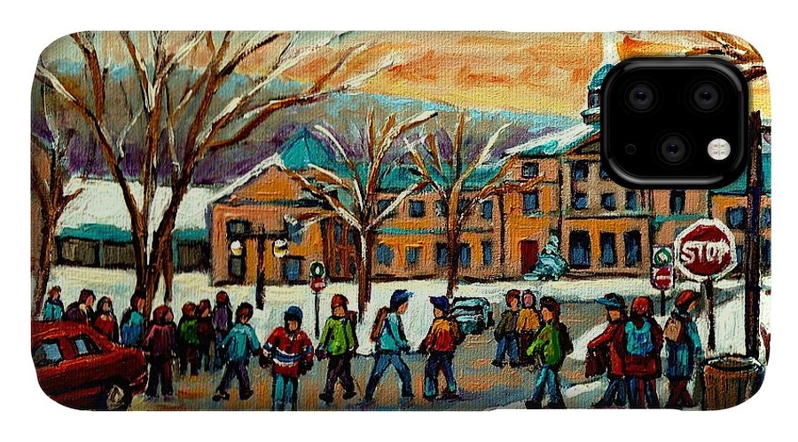 Mcgill University IPhone Case featuring the painting Mcgill Gates Sherbrooke Street Montreal by Carole Spandau